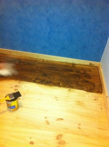 Staining the floorboards