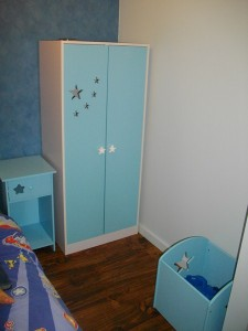 The new wardrobe, bedside table and toy box
