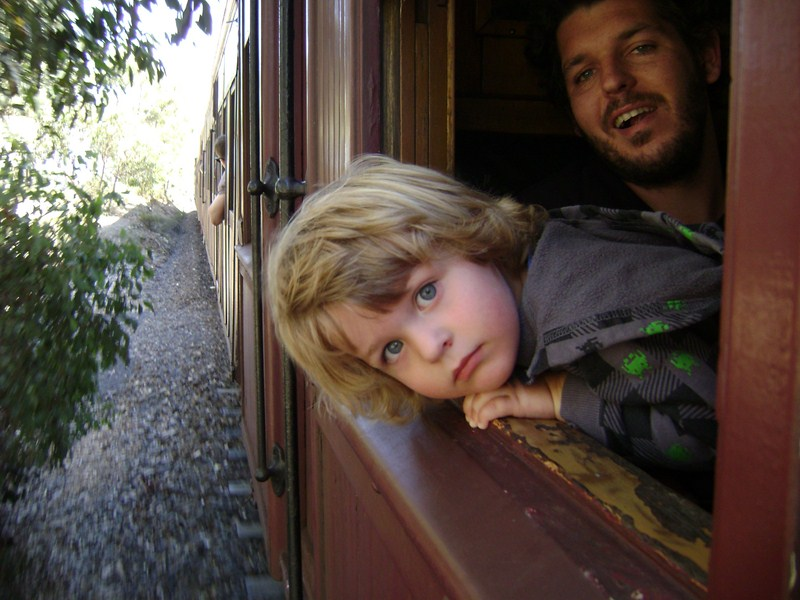 Levi hanging out the steam train window.