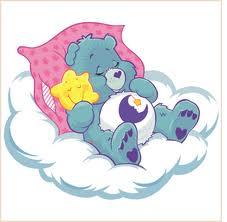 Care bear bed time bear asleep on a cloud