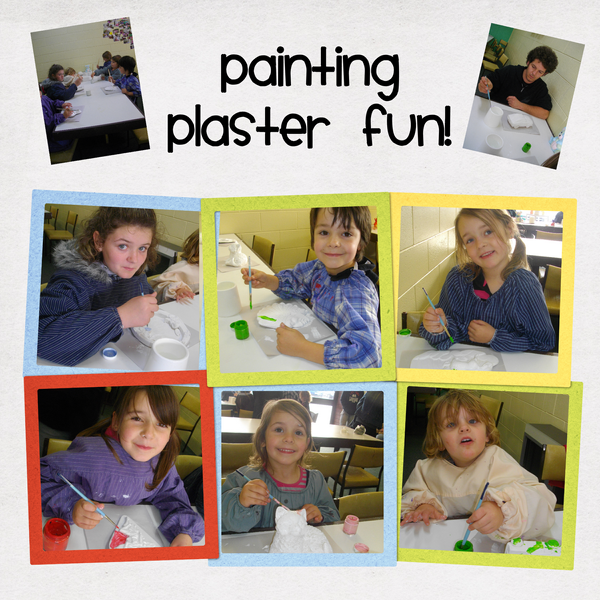 Pictures of the kids painting plaster in Warrnambool 2011