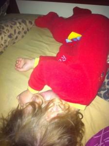 Levi Sleeping upside down in my bed.