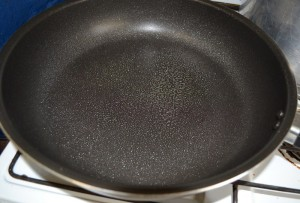 Frying pan with a light spray of cooking spray