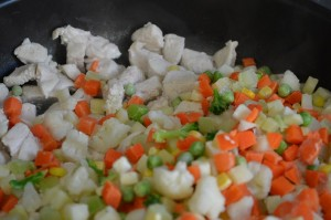 Frozen mixed vegetables and chicken