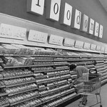 Black and white image of an old supermarket