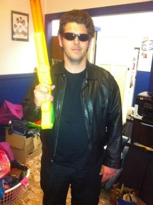 Brian dressed up as the Terminator