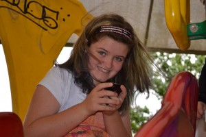 Mack on phone at park