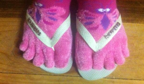 Socks in thongs.