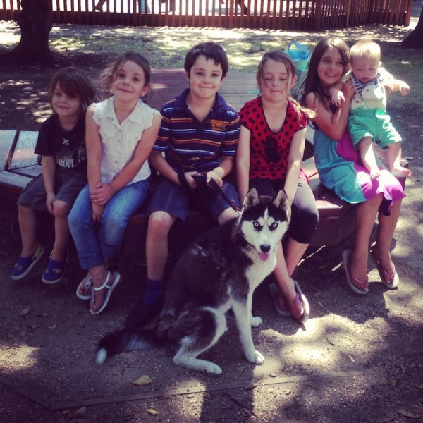 Group kids with dog