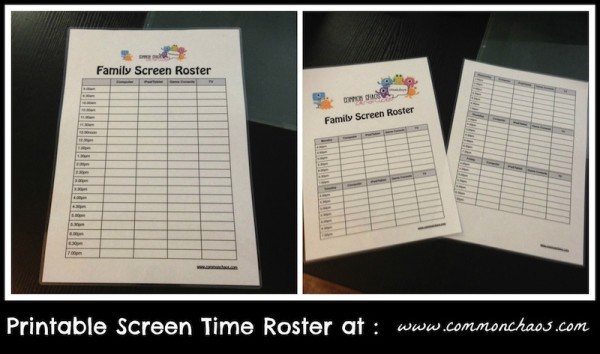 Family Screen Roster Printable
